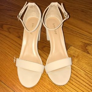 Bamboo Cream sandal 3in heels